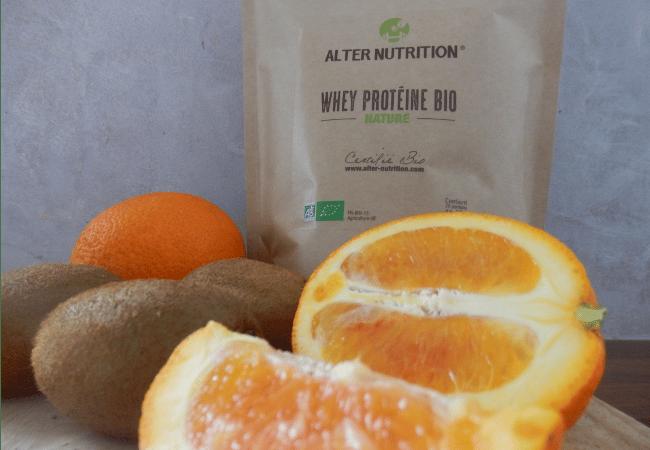 smoothie orange kiwi à la protéine whey bio