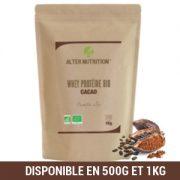 Whey protéine bio cacao alter nutrition 1kg et shaker